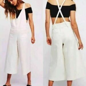 Free People White Wide Leg Cropped Jean Overalls